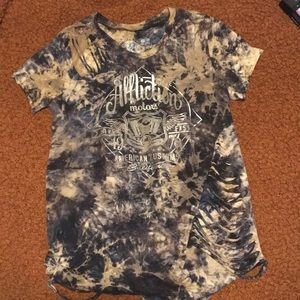 Affliction tie dye distressed t shirt